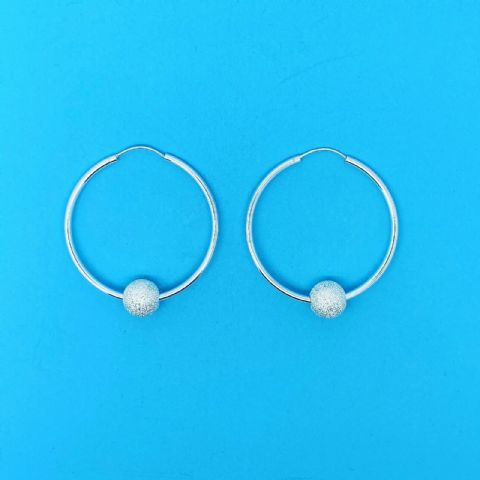 Genuine 925 Sterling Silver Hoops With Sliding Laser/Glitter Ball in Three Sizes
